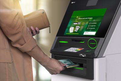 Closeup woman holding the wallet and withdrawing the cash via ATM, business Automatic Teller Machine concept