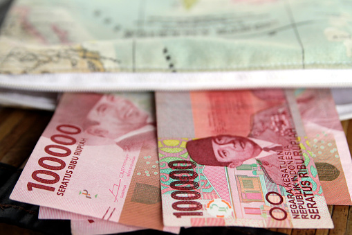 Close Up view of Indonesian Paper Currency