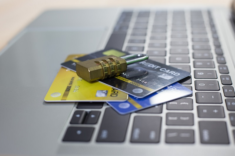 Credit cards with lock close up- online shopping