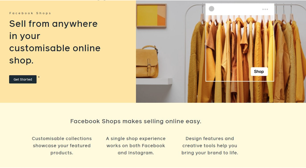 Facebook Shops landing page for retail social commerce