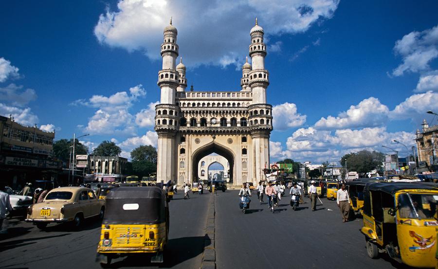 Charminar built in 1591 by King Muhammad Quli Qutb Shah of the Qutb shahi dynasty, Hyderabad, Andhra Pradesh, India