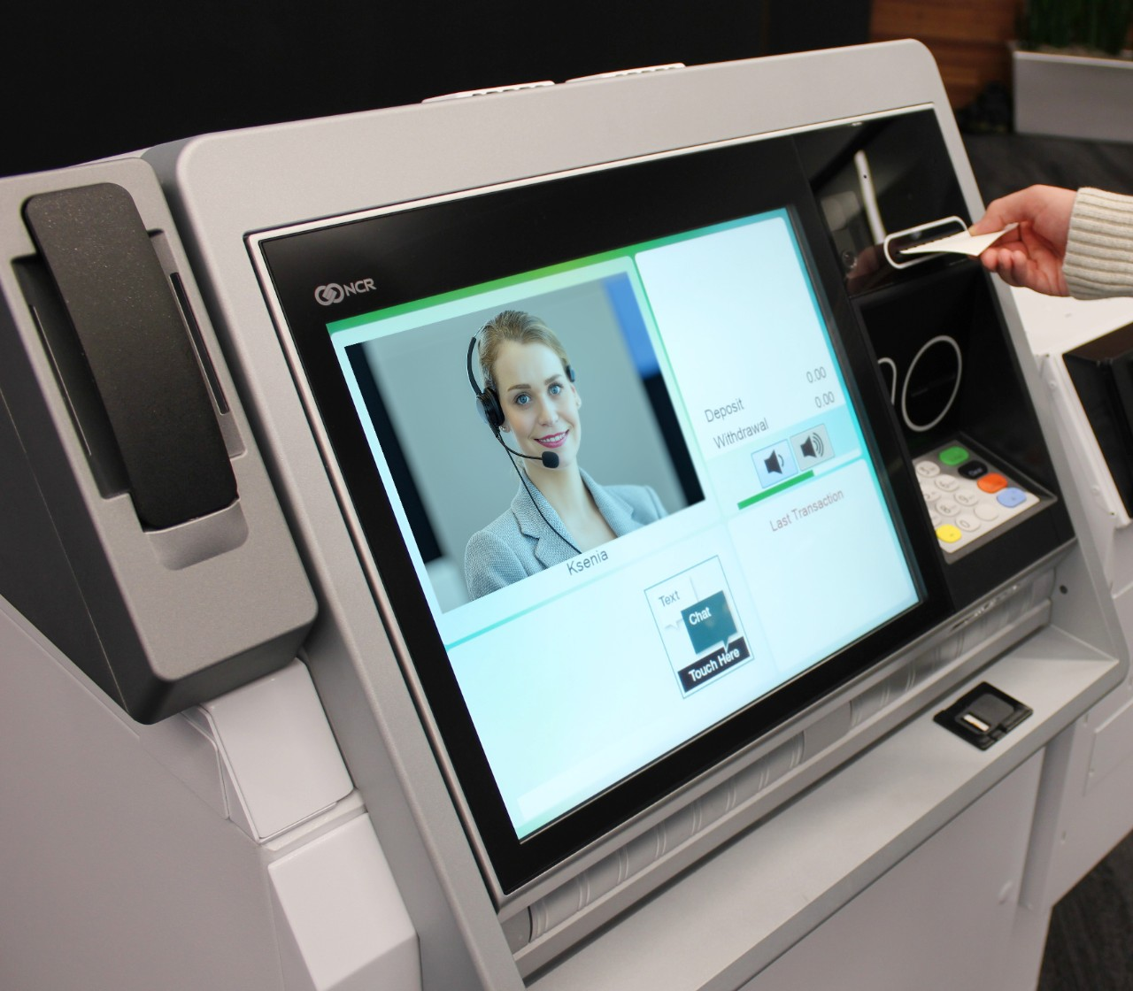 Screen on NCR ATM displaying Interactive Teller for user