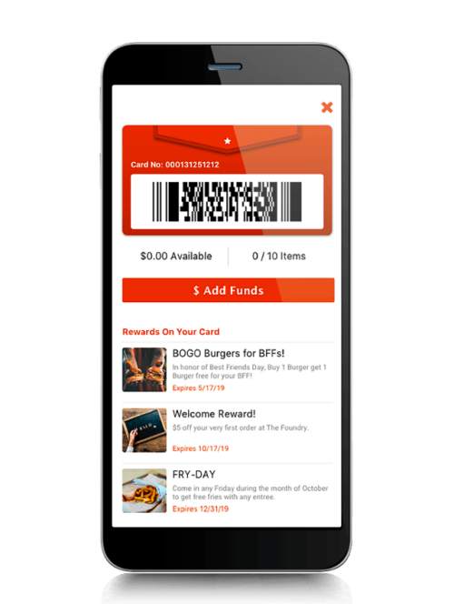 NCR Aloha Loyalty and rewards displayed on mobile device with barcode for payments