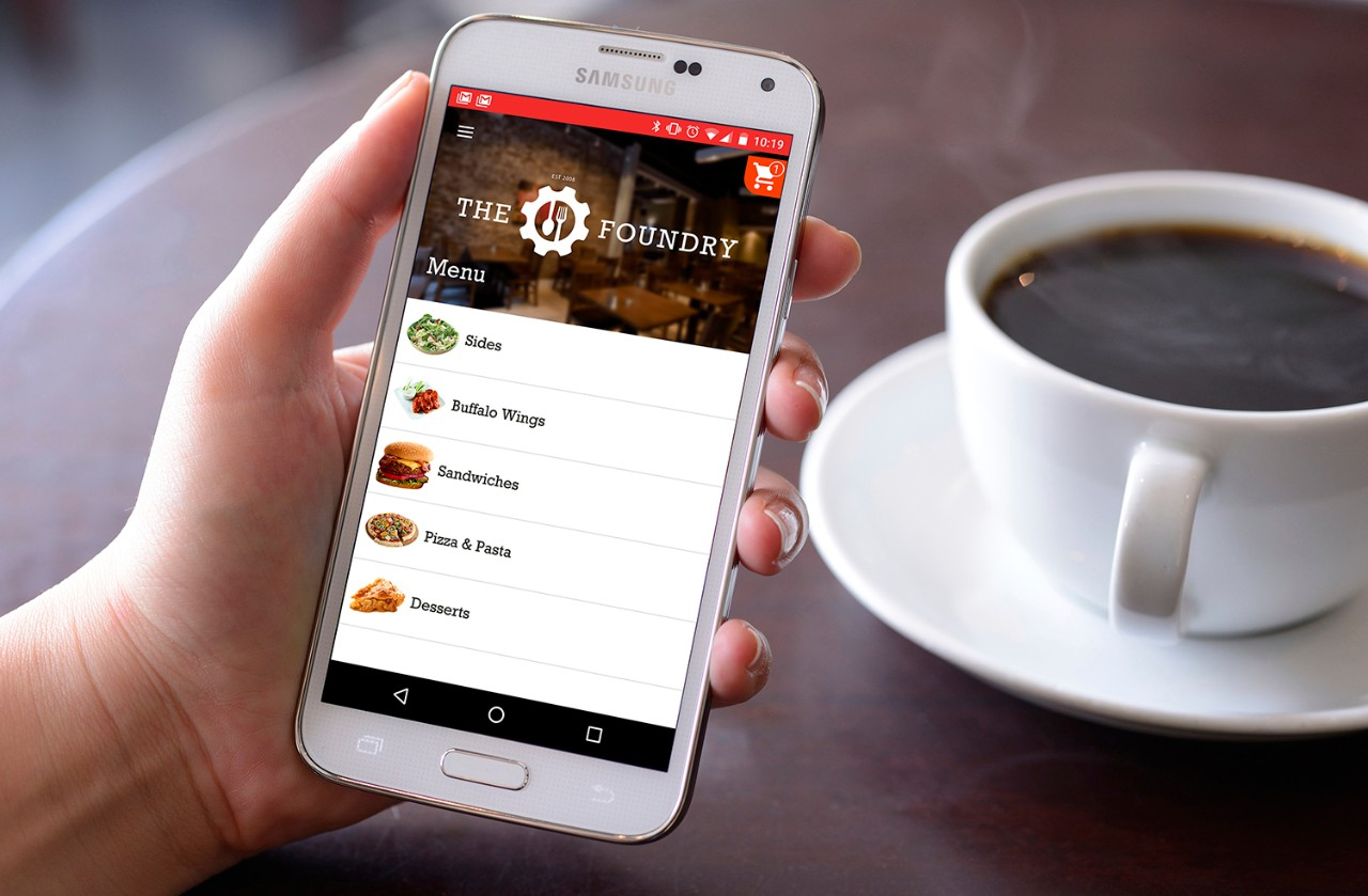 Screenshot of mobile device with menu options for a restaurant