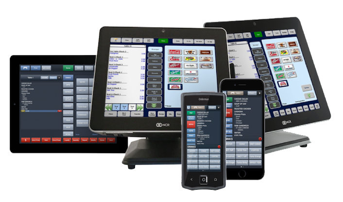 Product family shot of Aloha POS including desktops, tablets, and handheld or mobile devices
