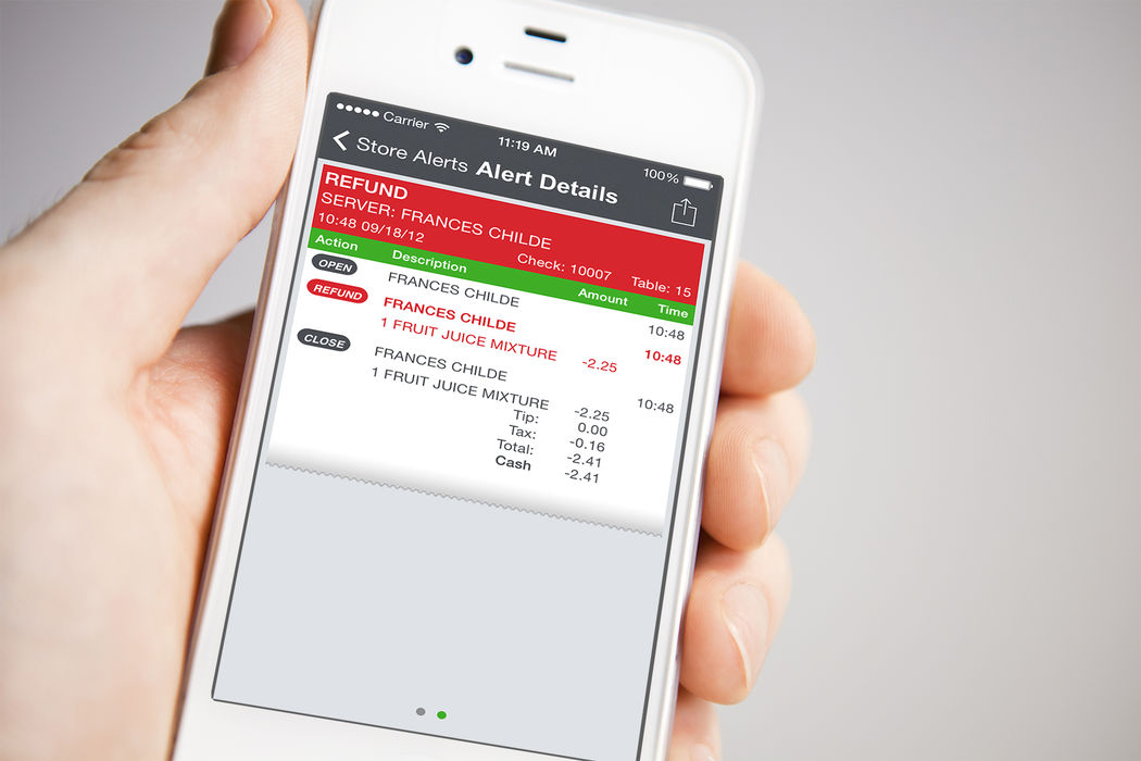 NCR Aloha Restaurant Guard mobile app for detecting employee theft