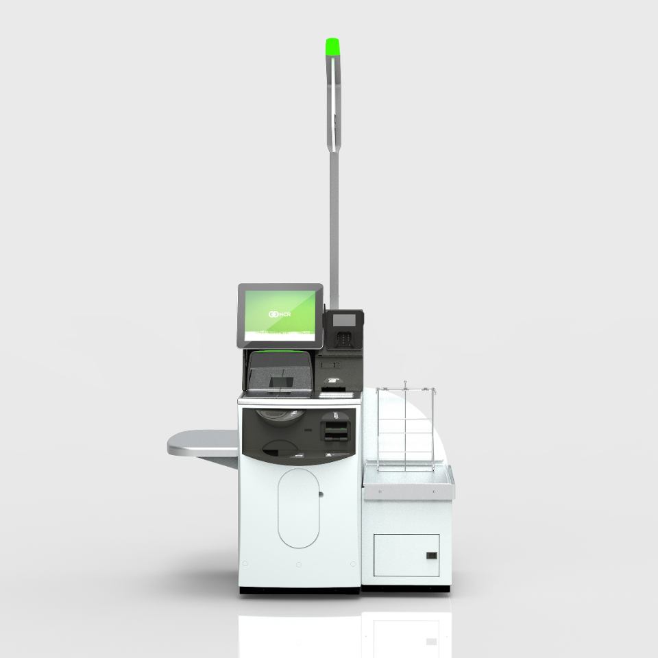 NCR FastLane self-checkout is viewed from the front with green NCR displayed on the screen