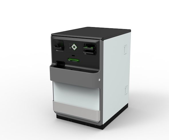 White secure cash appliance with a black top viewed from the front accepts cash notes and coins