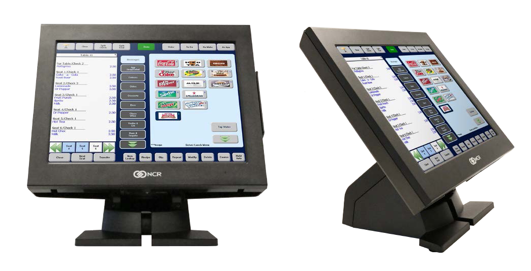 Front view and side view pf the NCR POS Terminal P series displaying software screen with options and prices