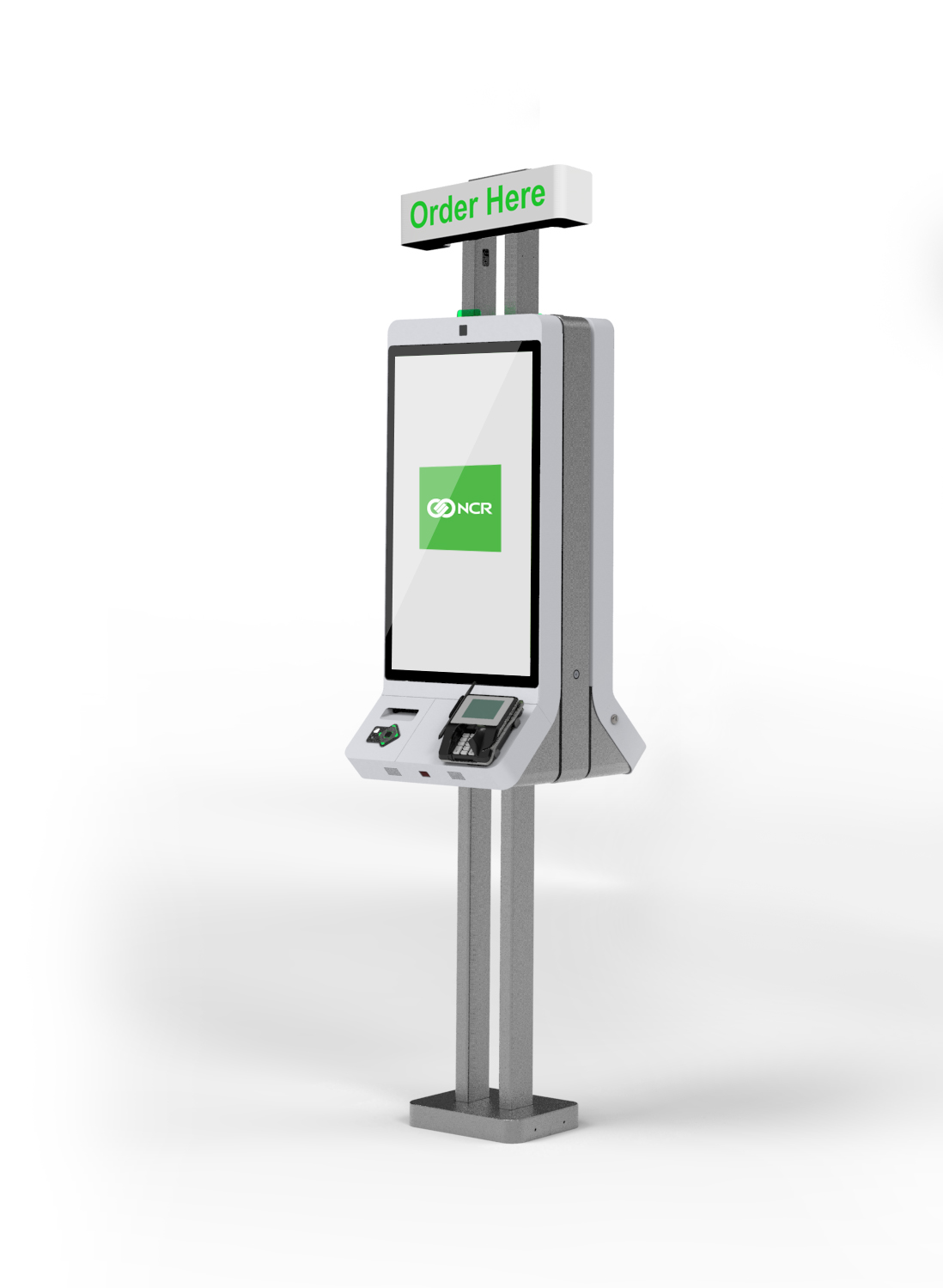 Green and silver NCR XK32 kiosk with a sign that says Order Here