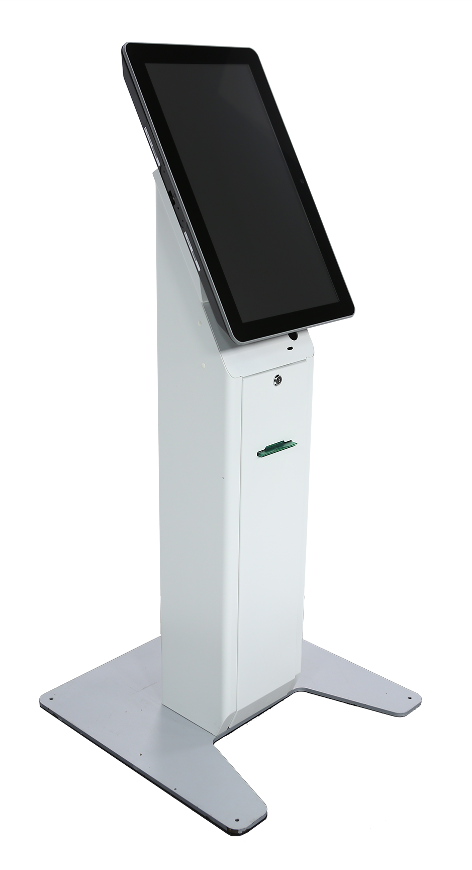 Front right view of NCR self service kiosk xk7 with screen turned off
