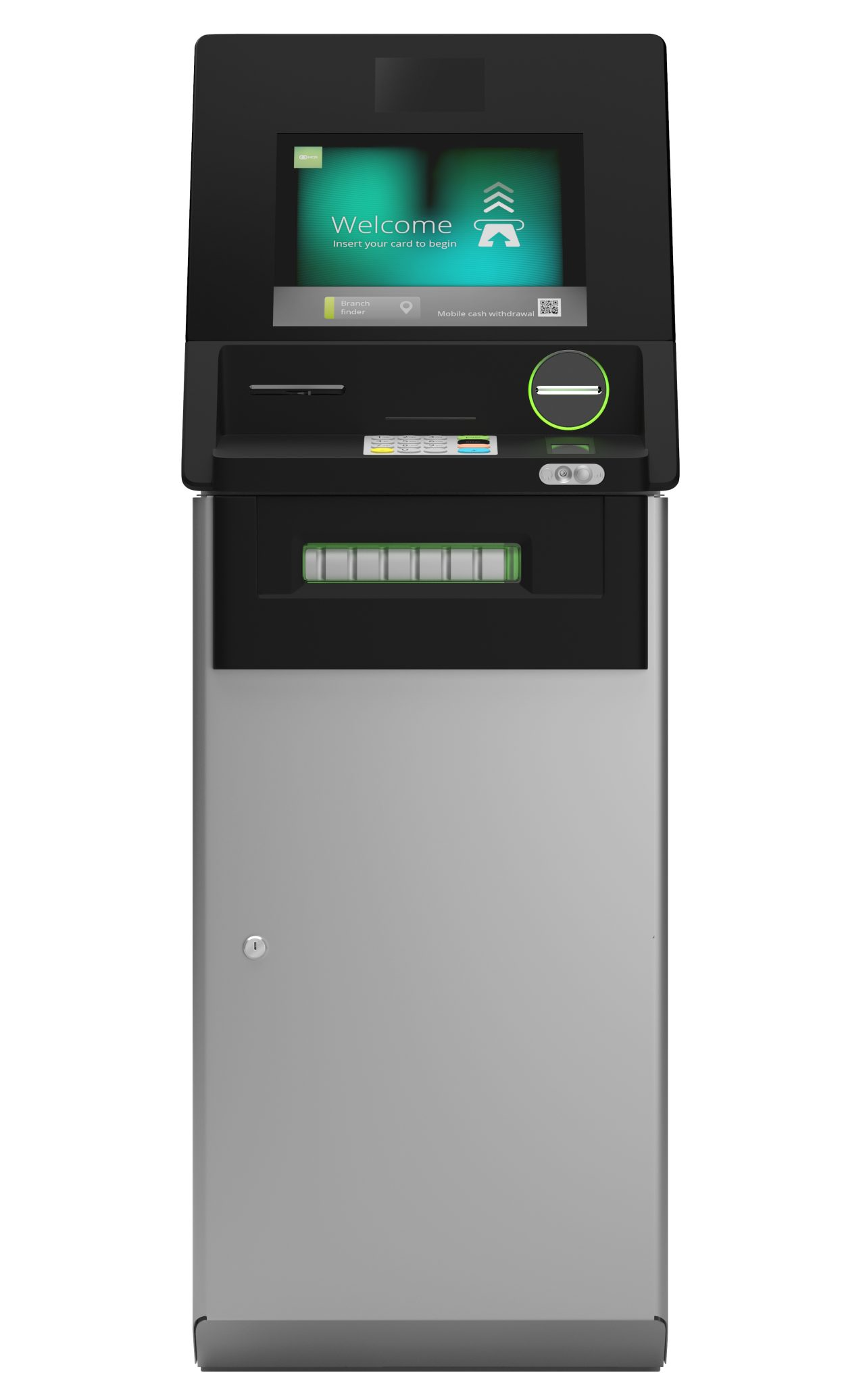 The SelfServ 23 is a new premium freestanding lobby ATM from NCR, featuring a modern aesthetic, enabling the latest touch and swipe capability.