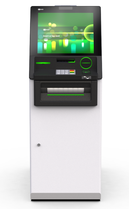 "NCR SelfServ 63 - Interior Cash Recycler with Check Accept displaying ""Insert or tap card"" on screen"