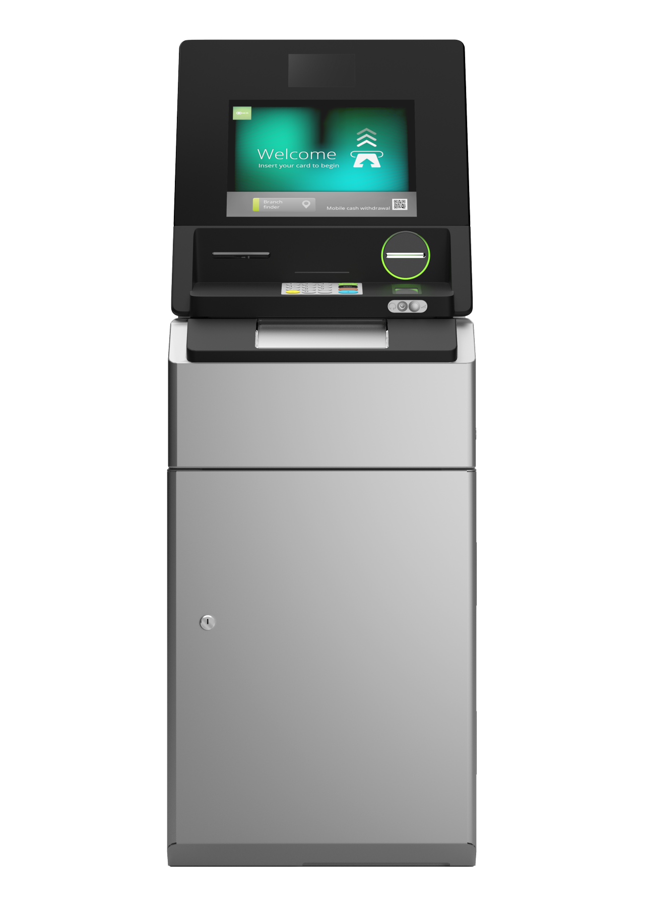 Front view of NCR SelfServ 83 - Interior Freestanding Cash Recycling ATM