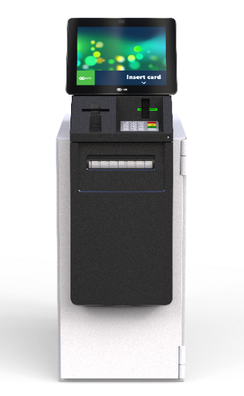 Front view of NCR SE Cash displaying welcome screen