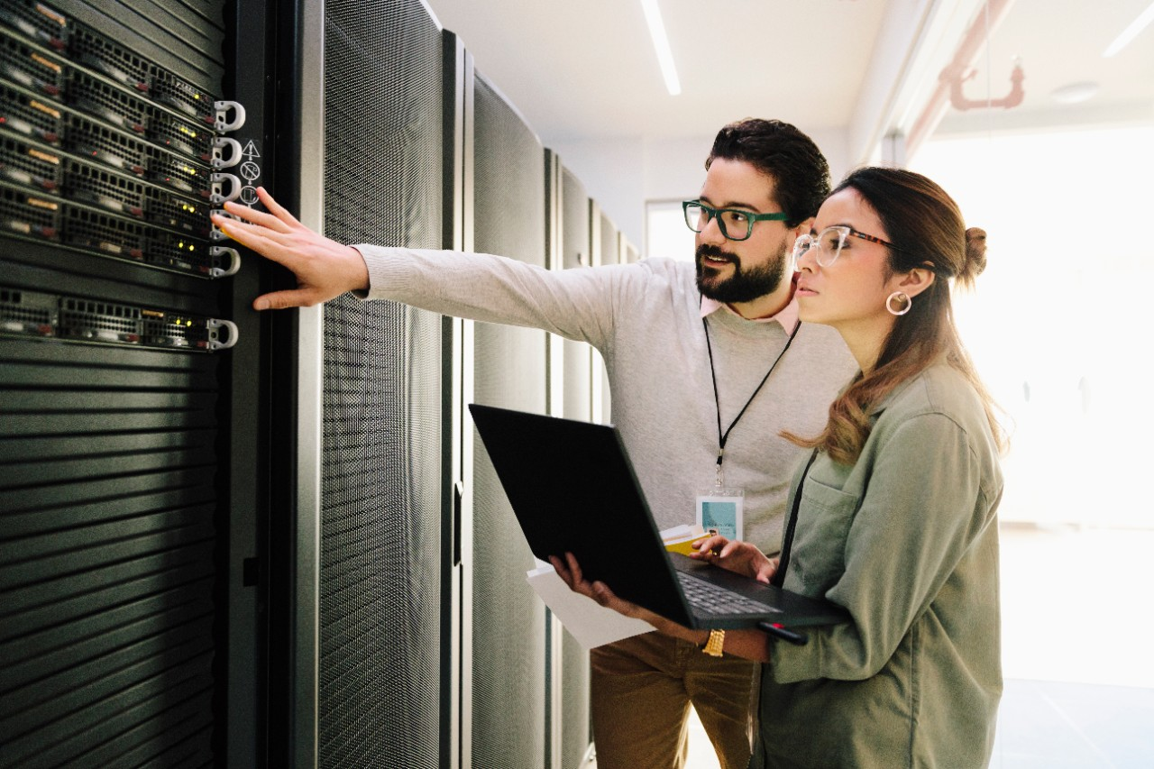 Engineers in data center