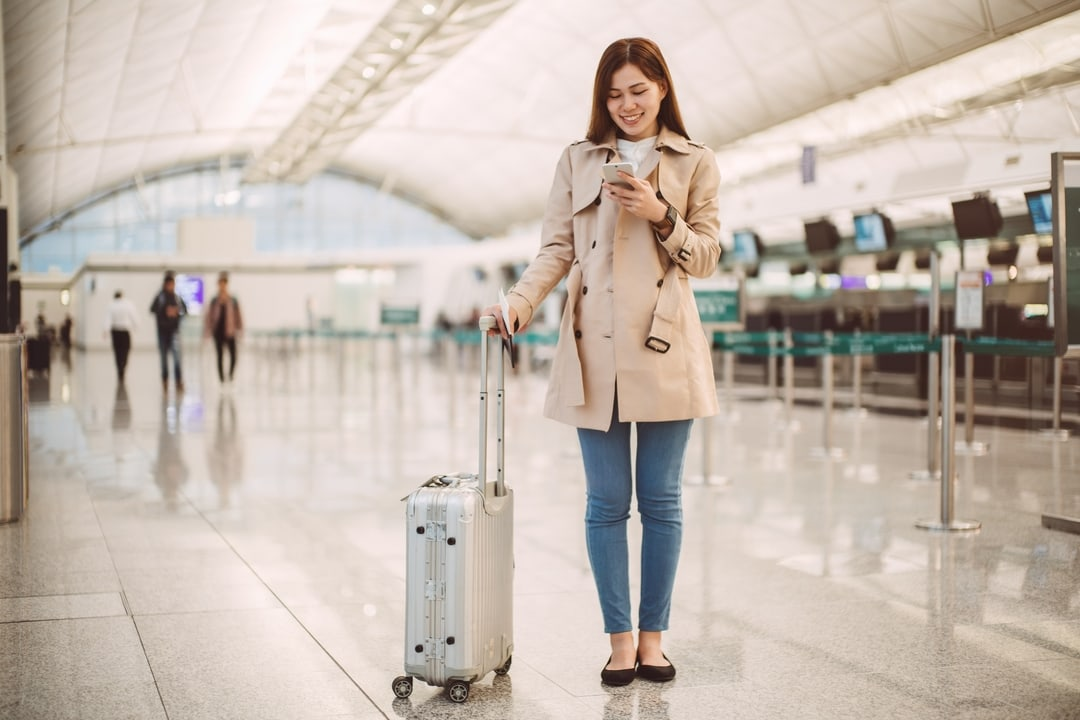 travel image girl at airport