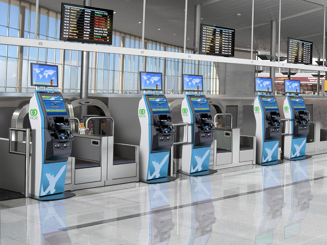 BAGAGGE DROP LOBBY WITH ADDED SERVICES KIOSKS