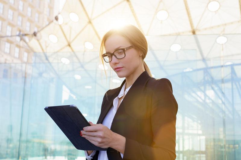 Portrait of a businesswoman using a digital tablet