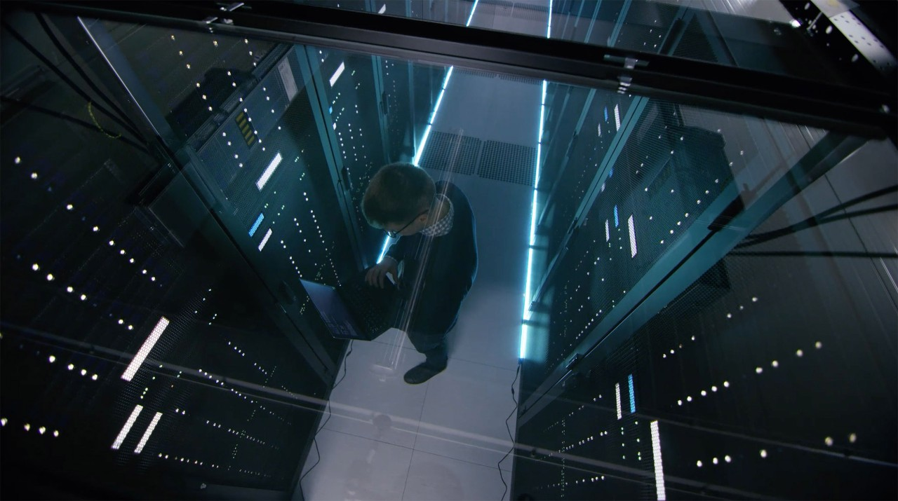 Man working in a server